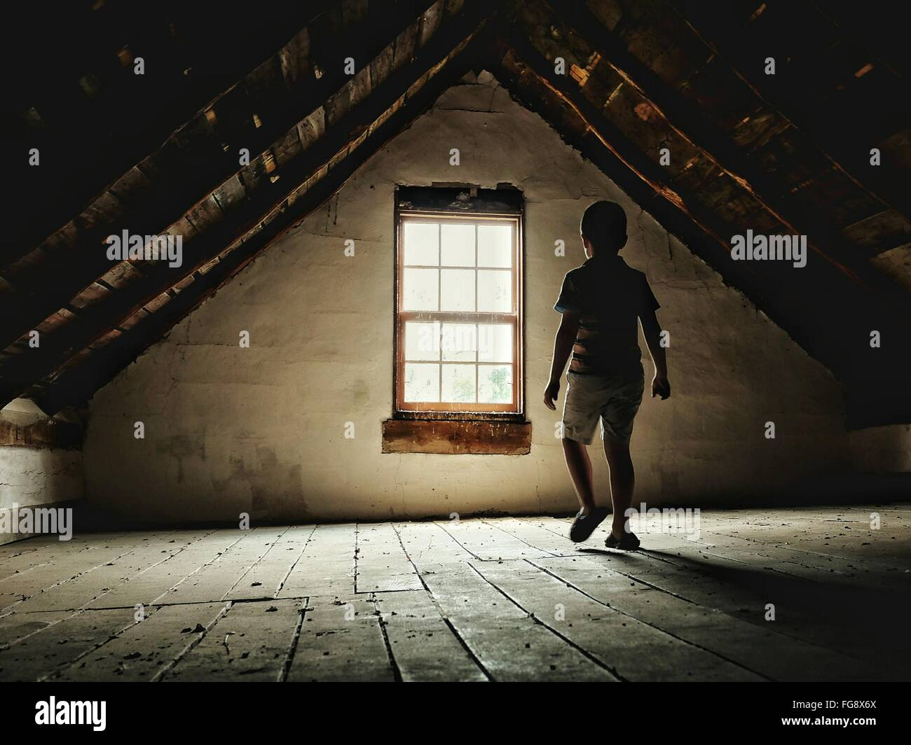 Rear View Of Boy Walking Towards Window At Home - Stock Image