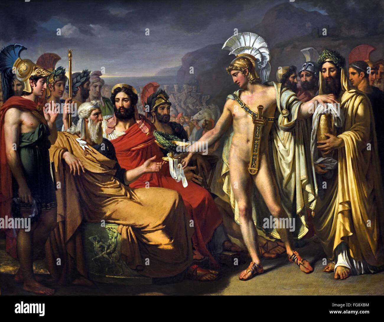 Achille donne à Nestor le prix de la sagesse aux jeux Olympiques - Achilles gives Nestor the price of wisdom - Stock Image