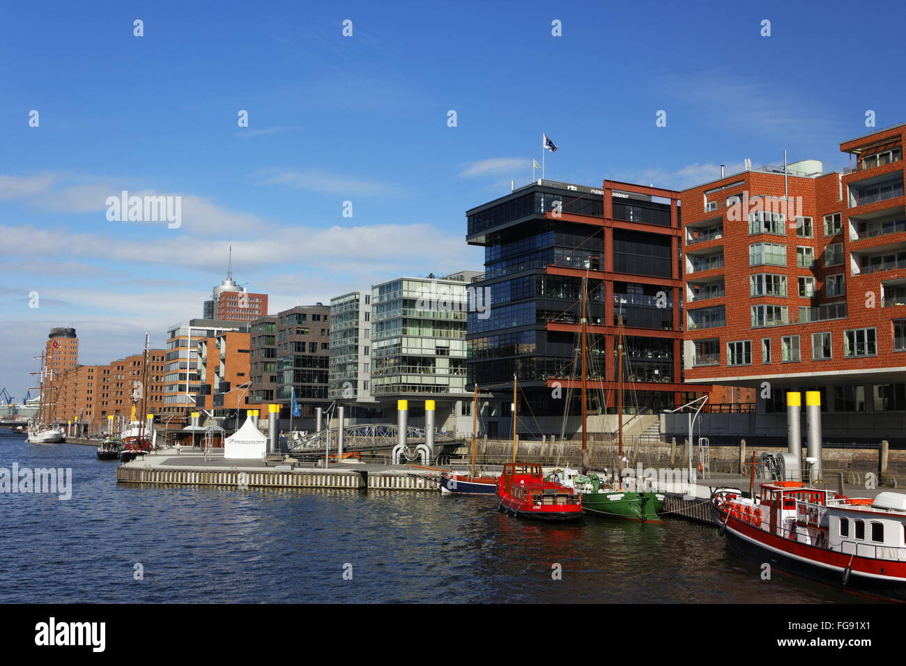 geography / travel, Germany, Hamburg, HafenCity, Sandtorkai (quay), Additional-Rights-Clearance-Info-Not-Available - Stock Image