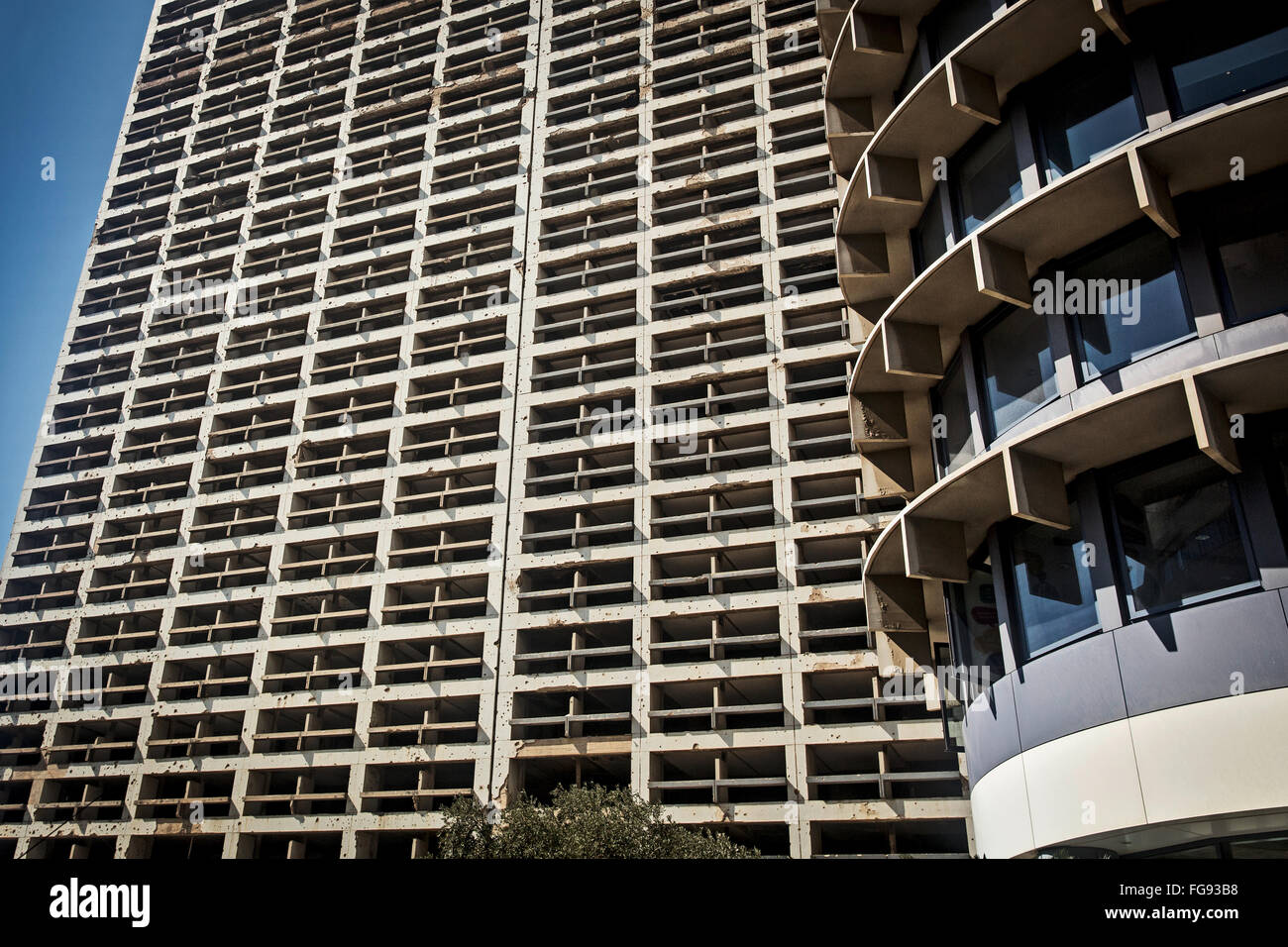 Shot-up Hilton Hotel fought at during the civil war in Beirut. - Stock Image