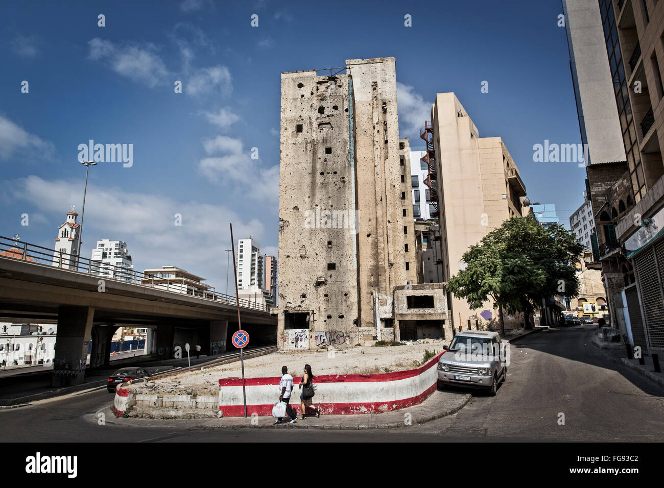 Shot-up house fought at during the civil war 'Green Line' in Beirut. - Stock Image