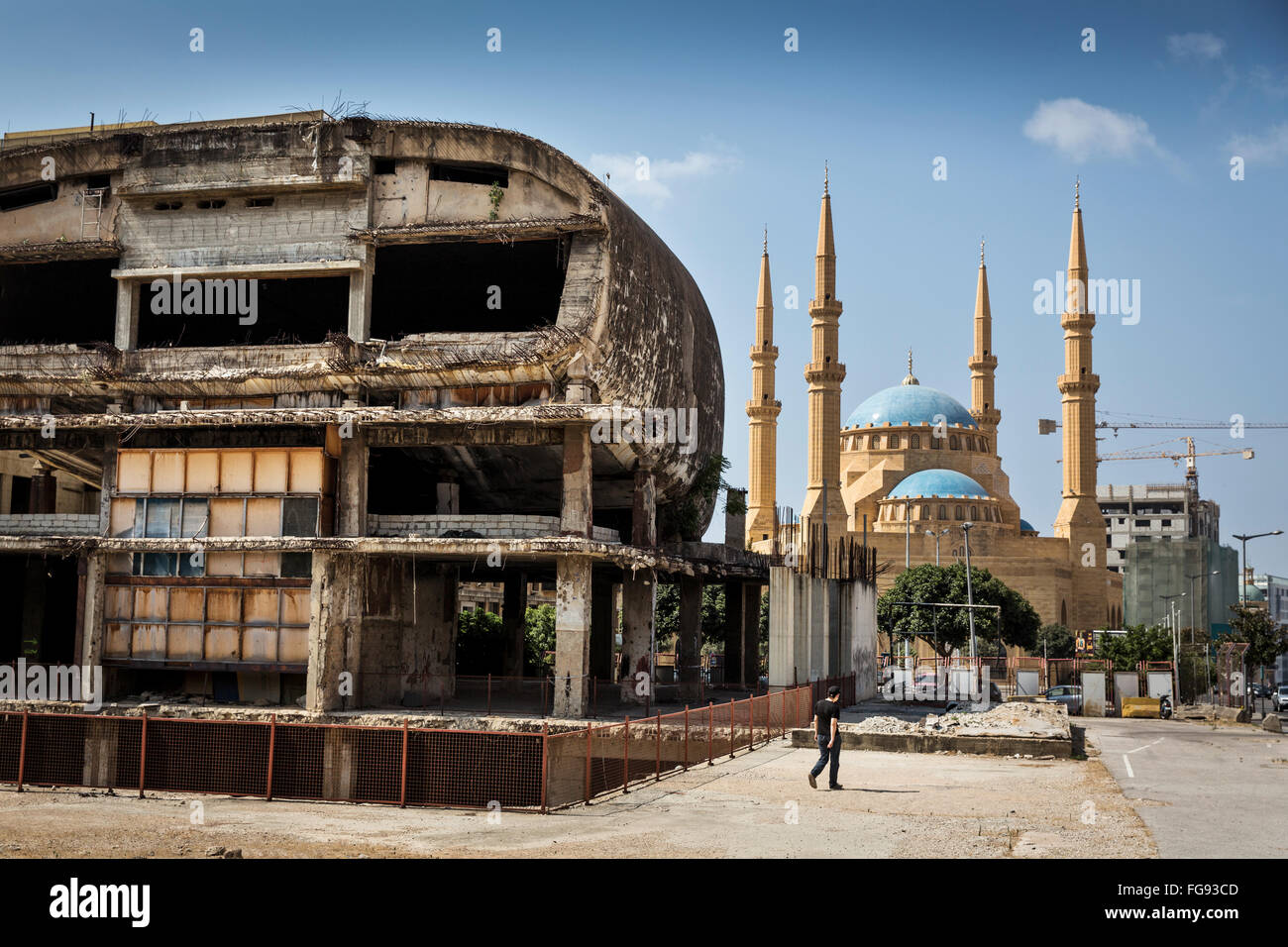 The shot-up during the Civil Cinema and the Grand Mosque at the Martyrs square in Beirut. - Stock Image