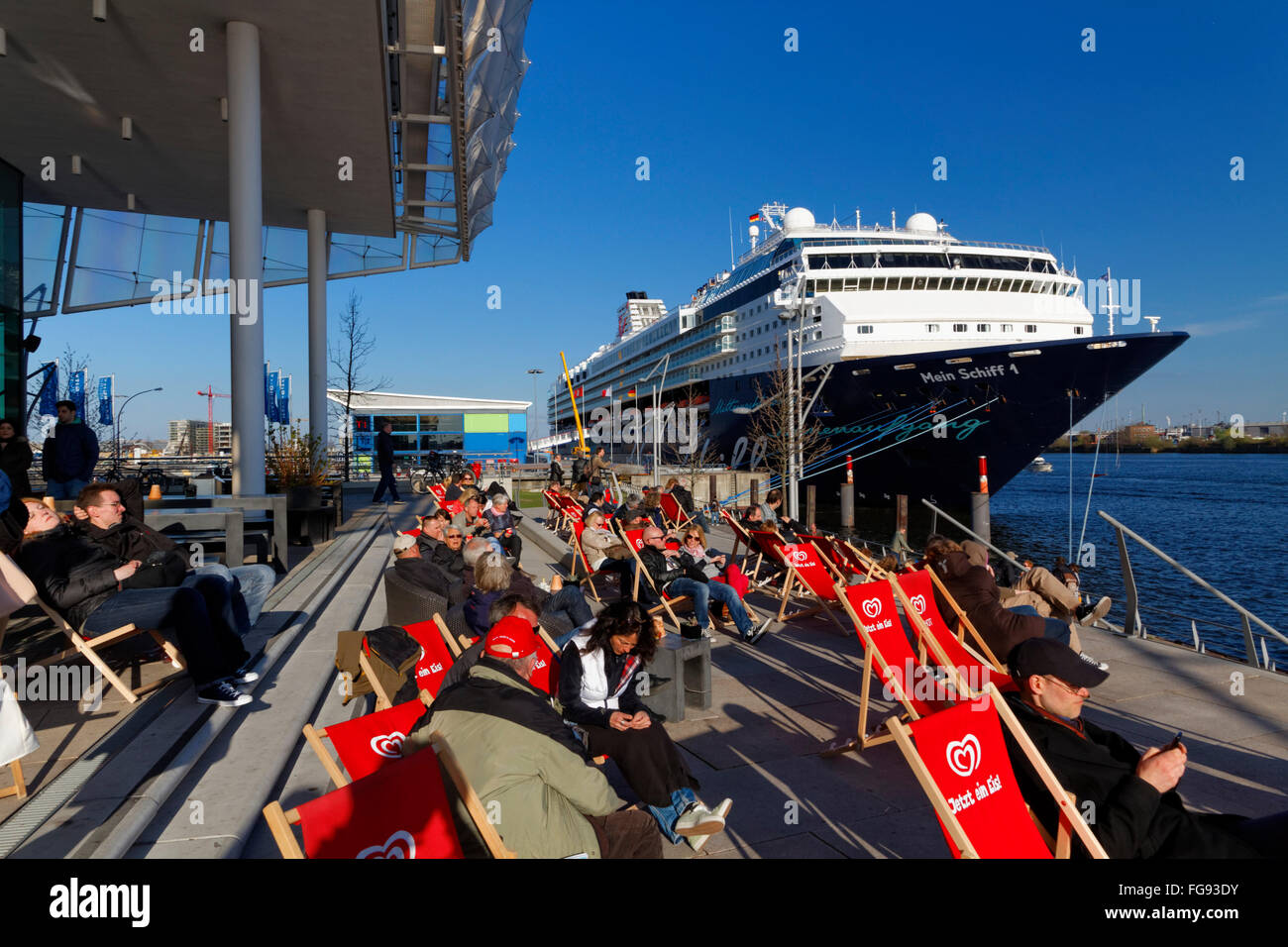 geography / travel, Germany, Hamburg, HafenCity, cruiser 'Mein Schiff 1' at Cruise Center, Additional-Rights - Stock Image