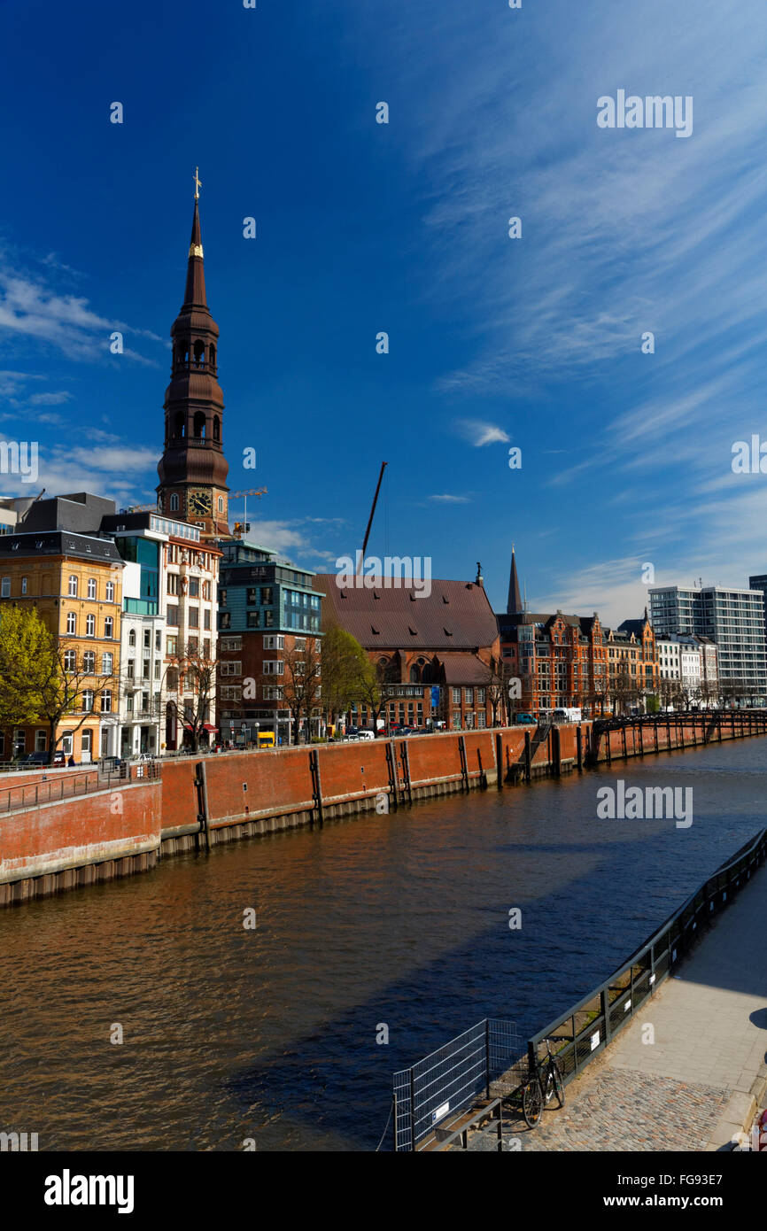 geography / travel, Germany, Hamburg, old town, St. Catherine's Church, Zollkanal, Additional-Rights-Clearance - Stock Image