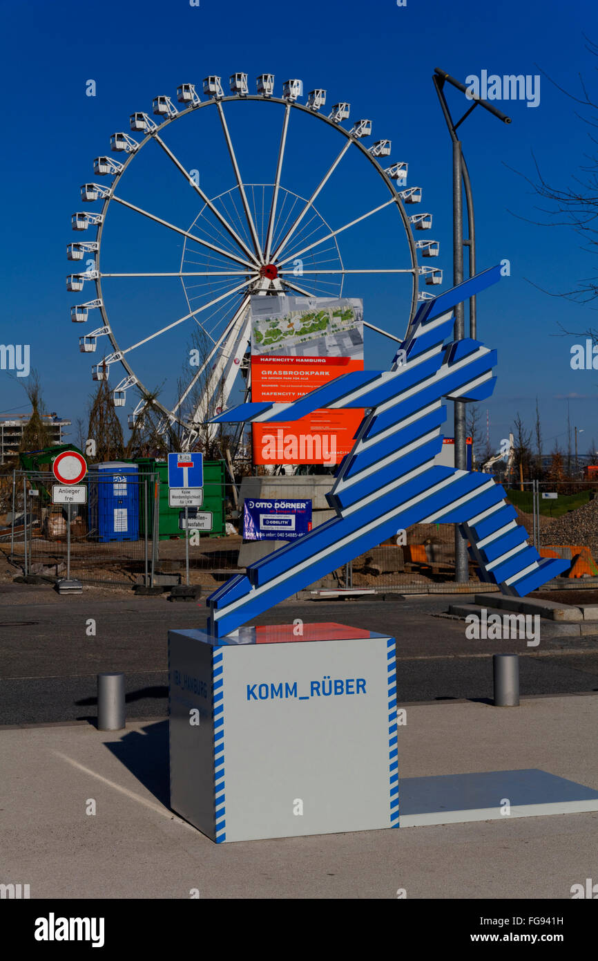 geography / travel, Germany, Hamburg, HafenCity, Grasbrookpark, Ferris wheel, Additional-Rights-Clearance-Info-Not - Stock Image