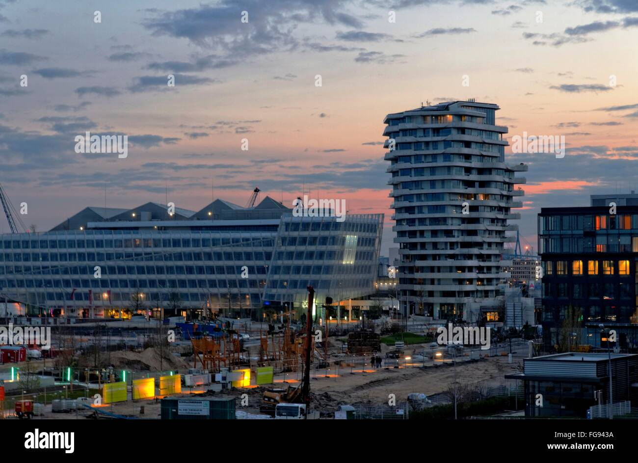 geography / travel, Germany, Hamburg, HafenCity, Unilever building, Marco-Polo-Tower, Additional-Rights-Clearance Stock Photo