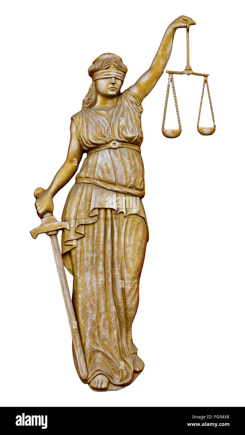 Monument of Justitia isolated on white background - Stock Image