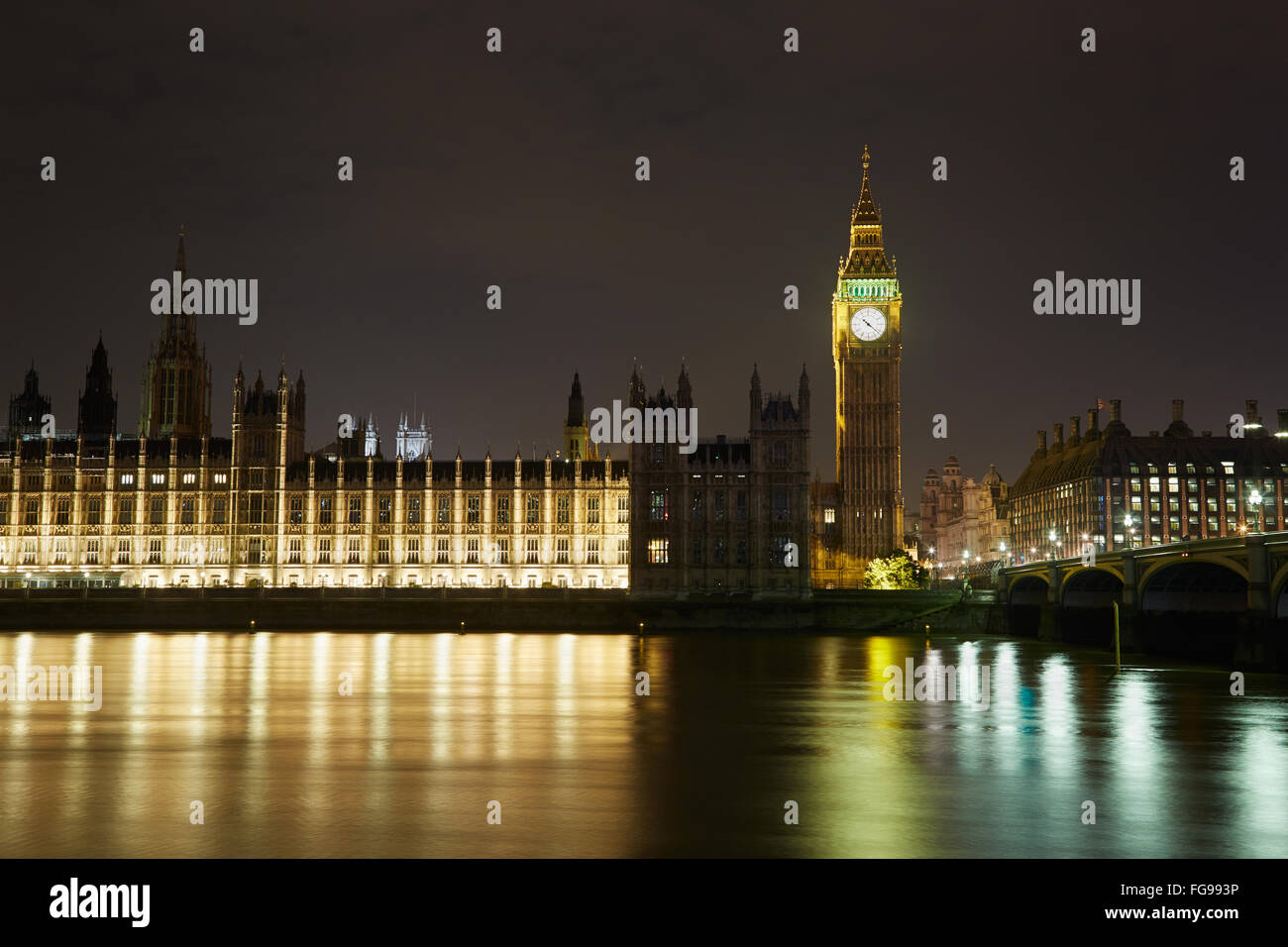 Big Ben and Palace of Westminster at night in London, natural colors - Stock Image
