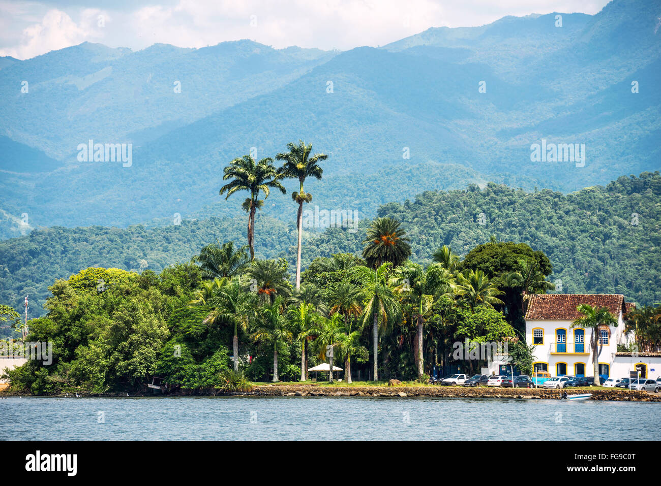 Tourist boat waiting for tourists in Paraty, state Rio de Janeiro, Brazil Stock Photo