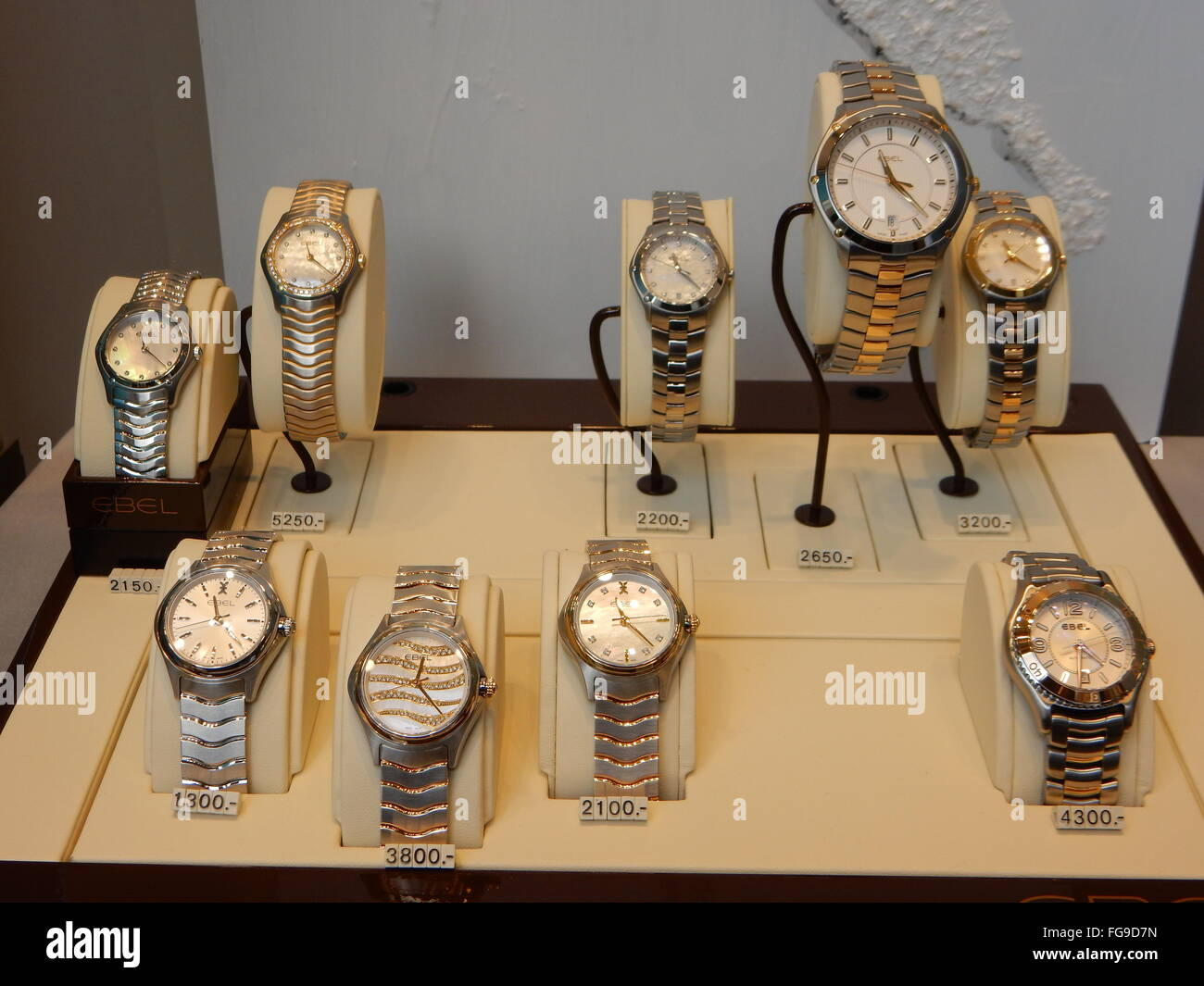 expensive watches in a show window of a watch maker in Bonn, Germany - Stock Image