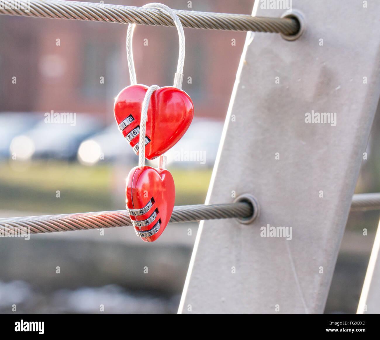 Close-Up Of Combination Locks Hanging On Railing - Stock Image