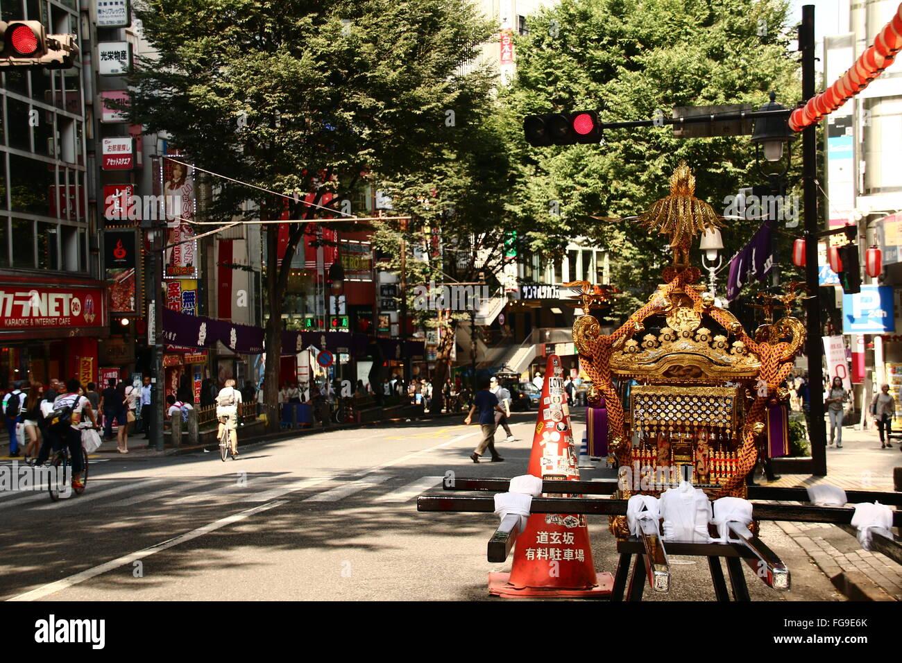 Mikoshi On City Street Against Trees - Stock Image