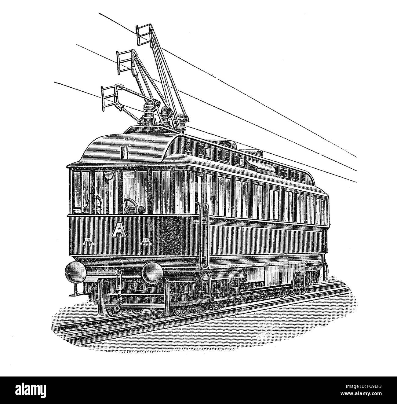 Print from the late 1800s depicting an electric tram Stock Photo ...