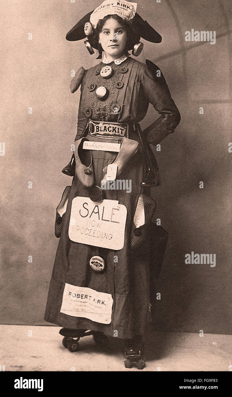 A Victorian shoe seller in rollerskates in UK - Advertising - Stock Image