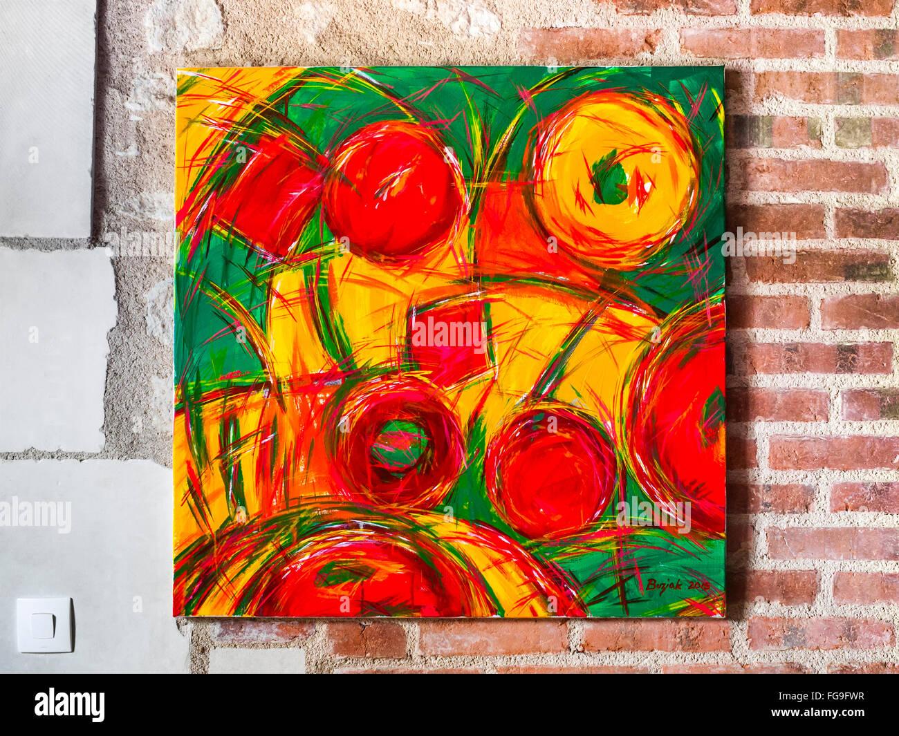 Acrylic painting of fruits / sweets by Ed Buziak. Stock Photo