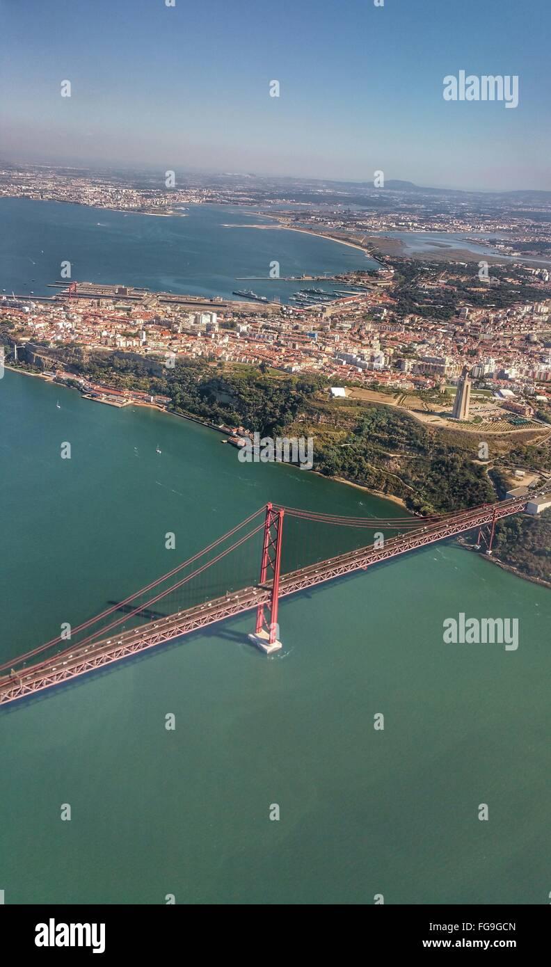Aerial View Of April 25Th Bridge Over Tagus River Stock Photo