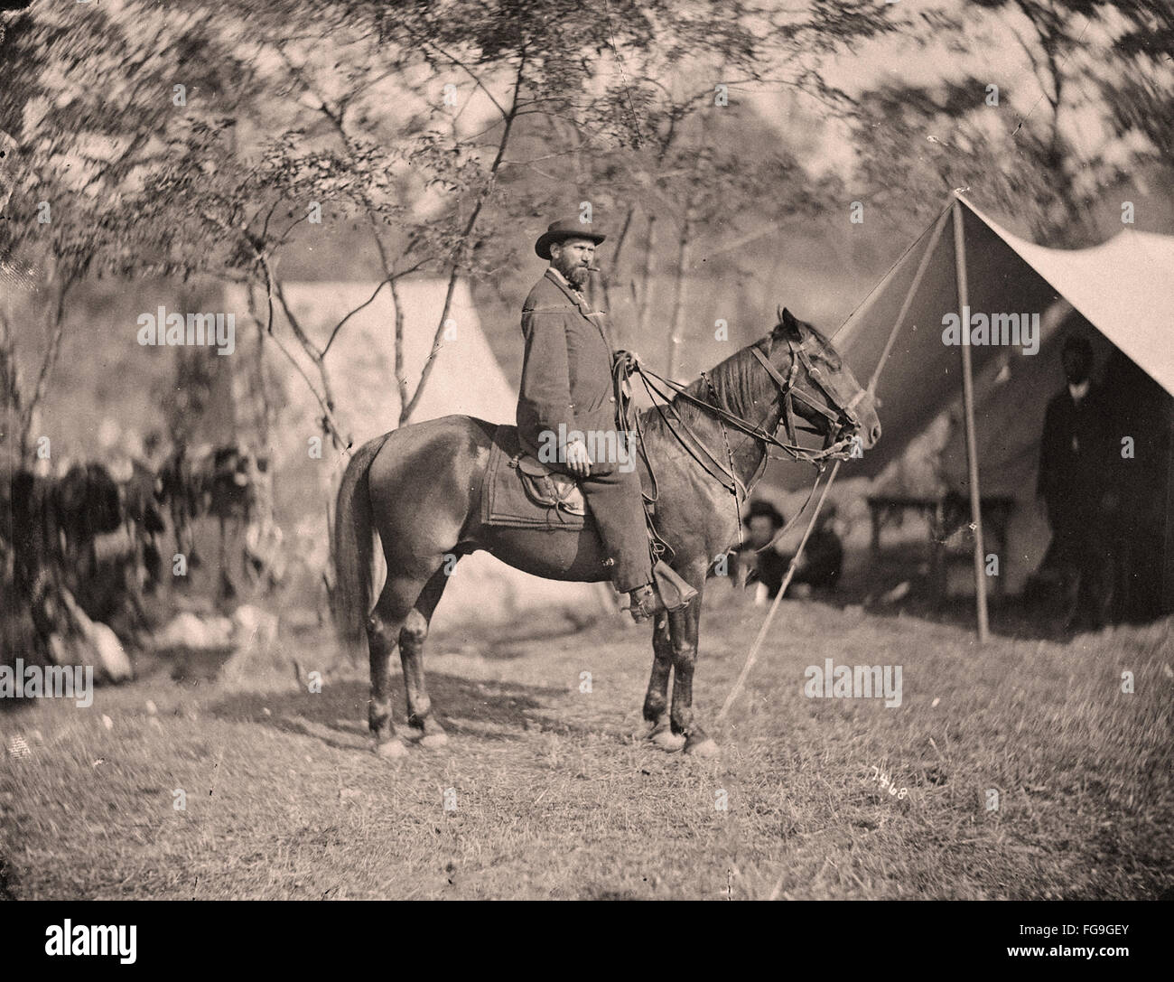 US civil war scene - Abraham Lincoln with top hat Stock Photo