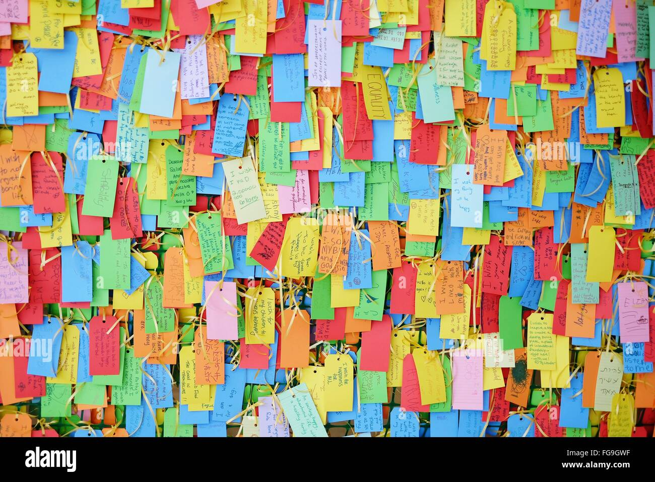 Full Frame Shot Of Wishing Notes On Wall - Stock Image