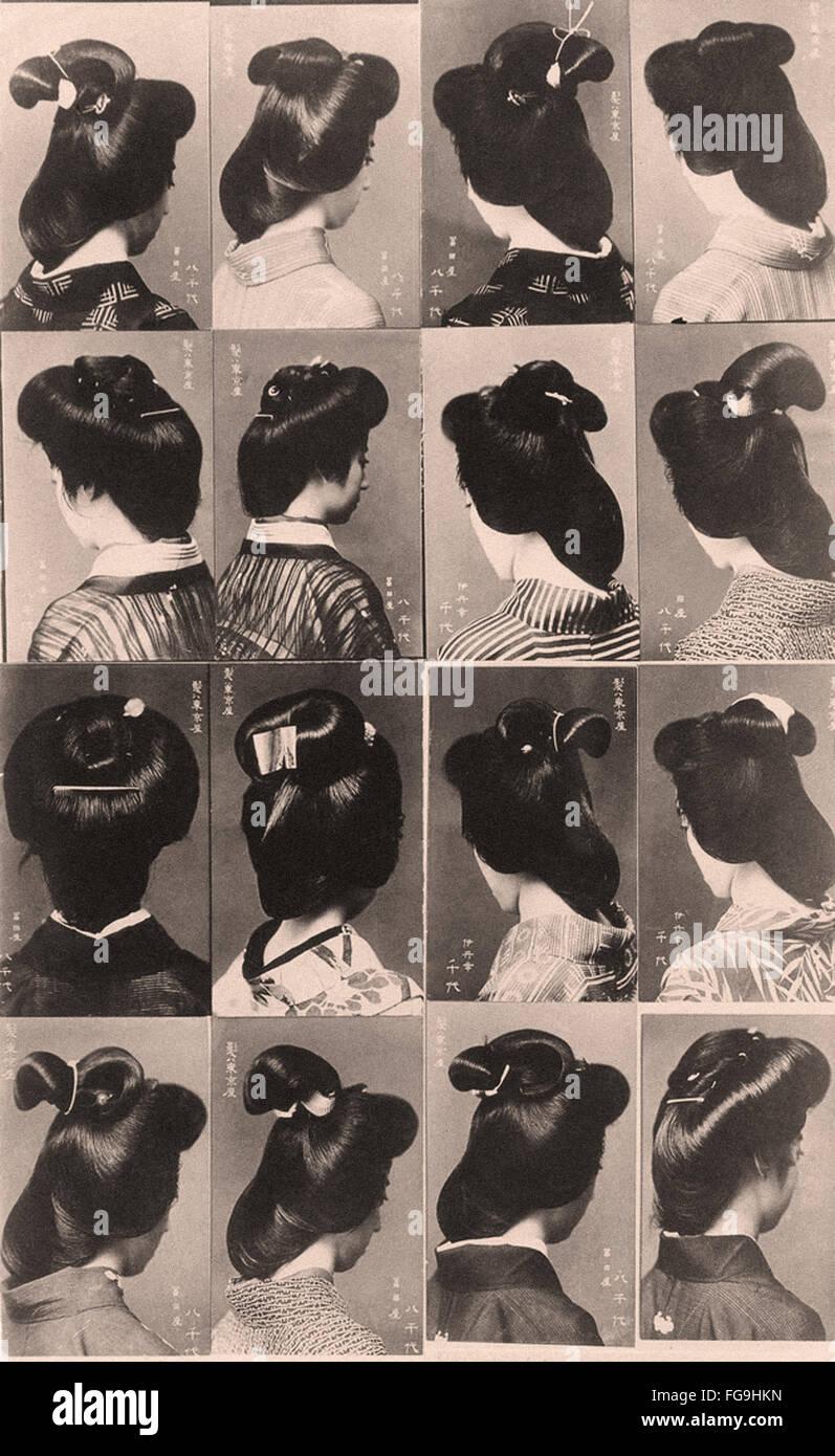 Japanese women  hairstyle -1910s - Stock Image