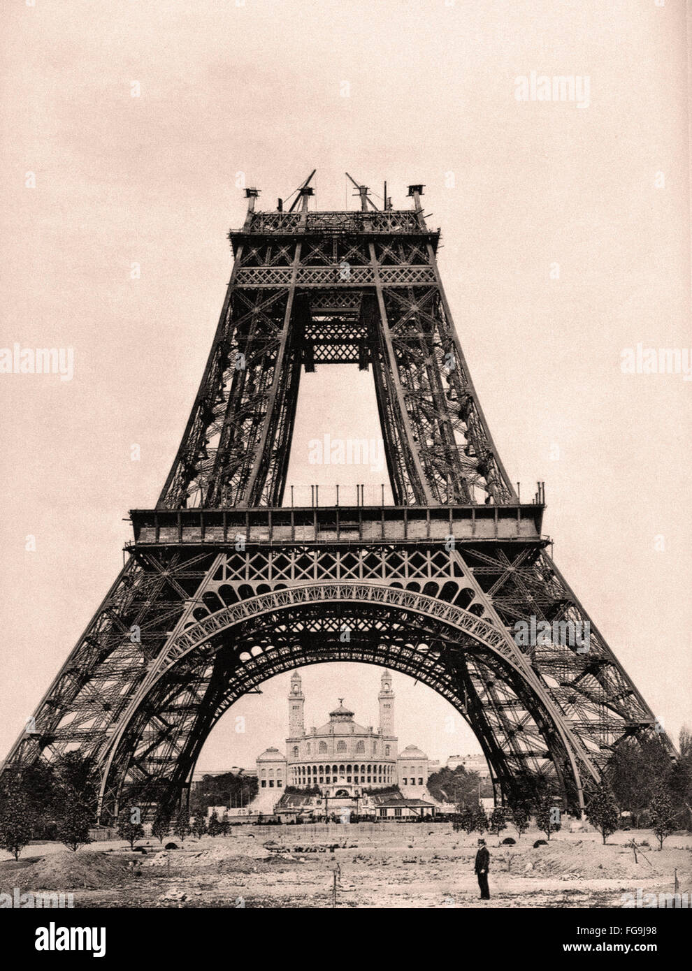 Mid construction of Eiffel Tower - August 21  1888 - Stock Image