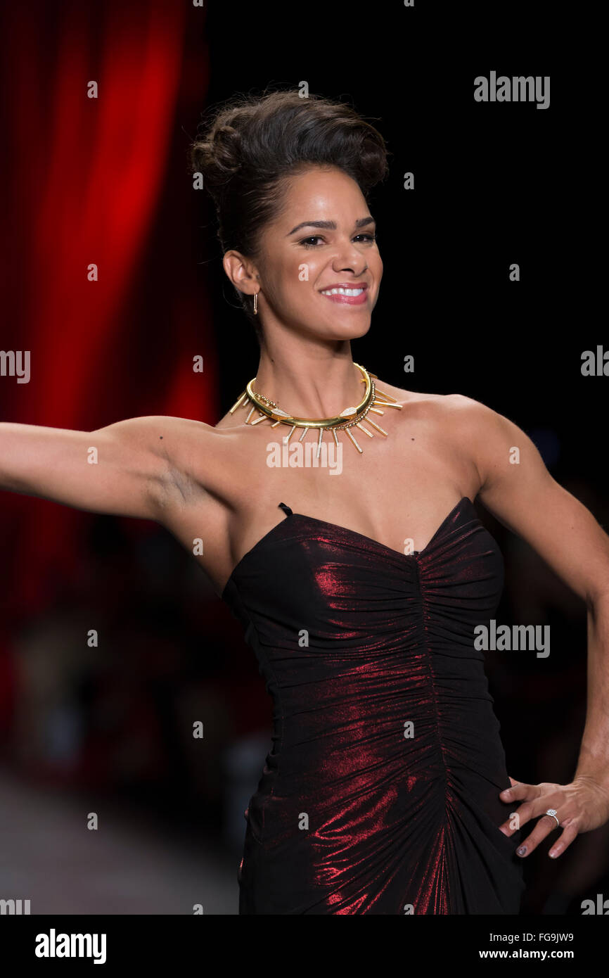 NEW YORK, NY - FEBRUARY 11, 2016: Misty Copeland wearing dress by David Meister walks runway for the Heart Truth - Stock Image