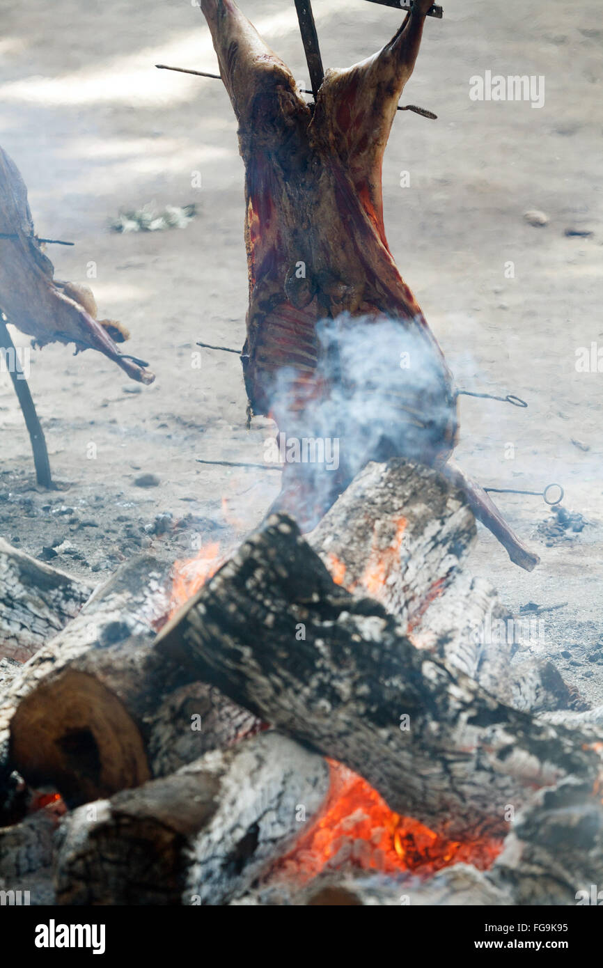 Argentina patagonian lamb asado al asador grilled - Stock Image
