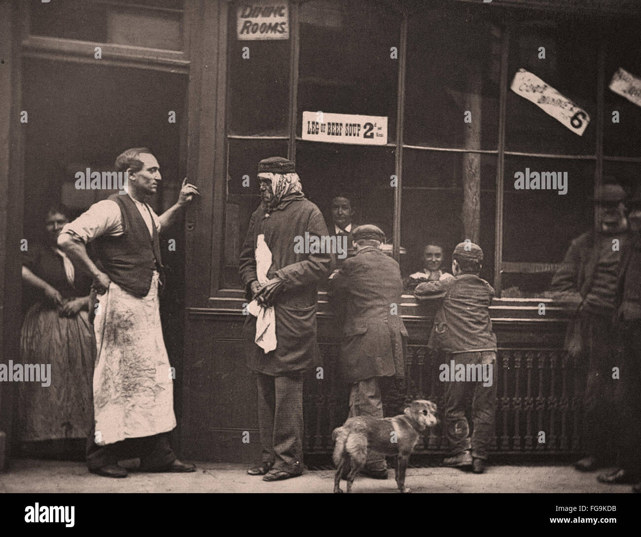 Street Life in London from the Victorian Era - Soup - Stock Image