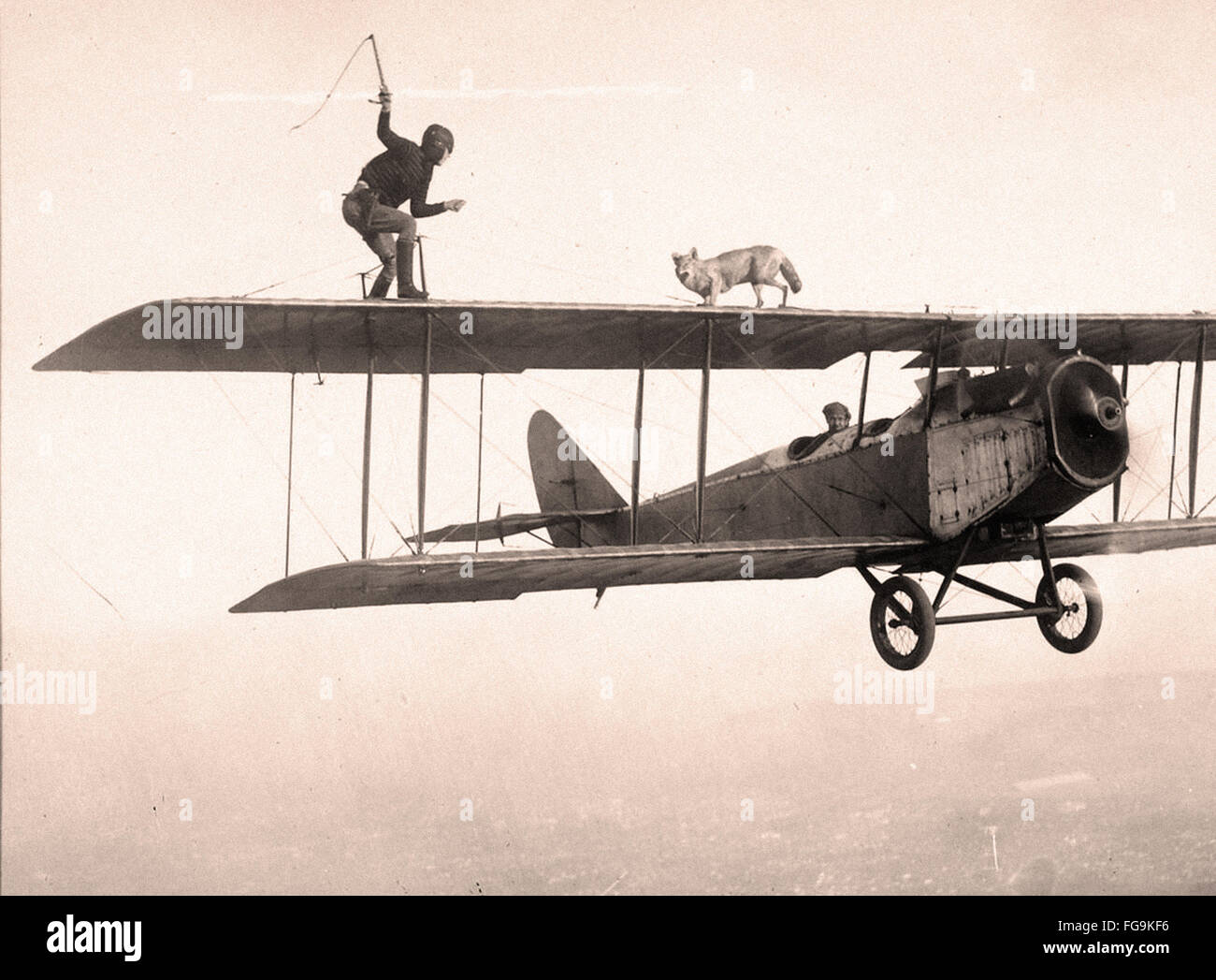 Stunt man and dog on the wings of a plane - 1920s - Stock Image