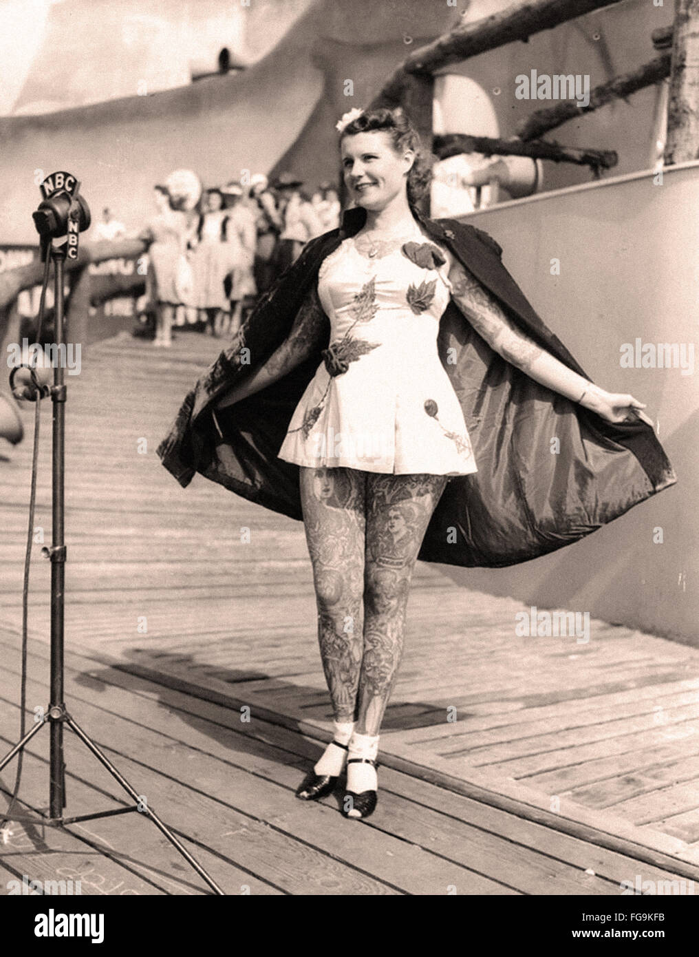 Tattooed lady at the 1939 New York World  Fair - Stock Image