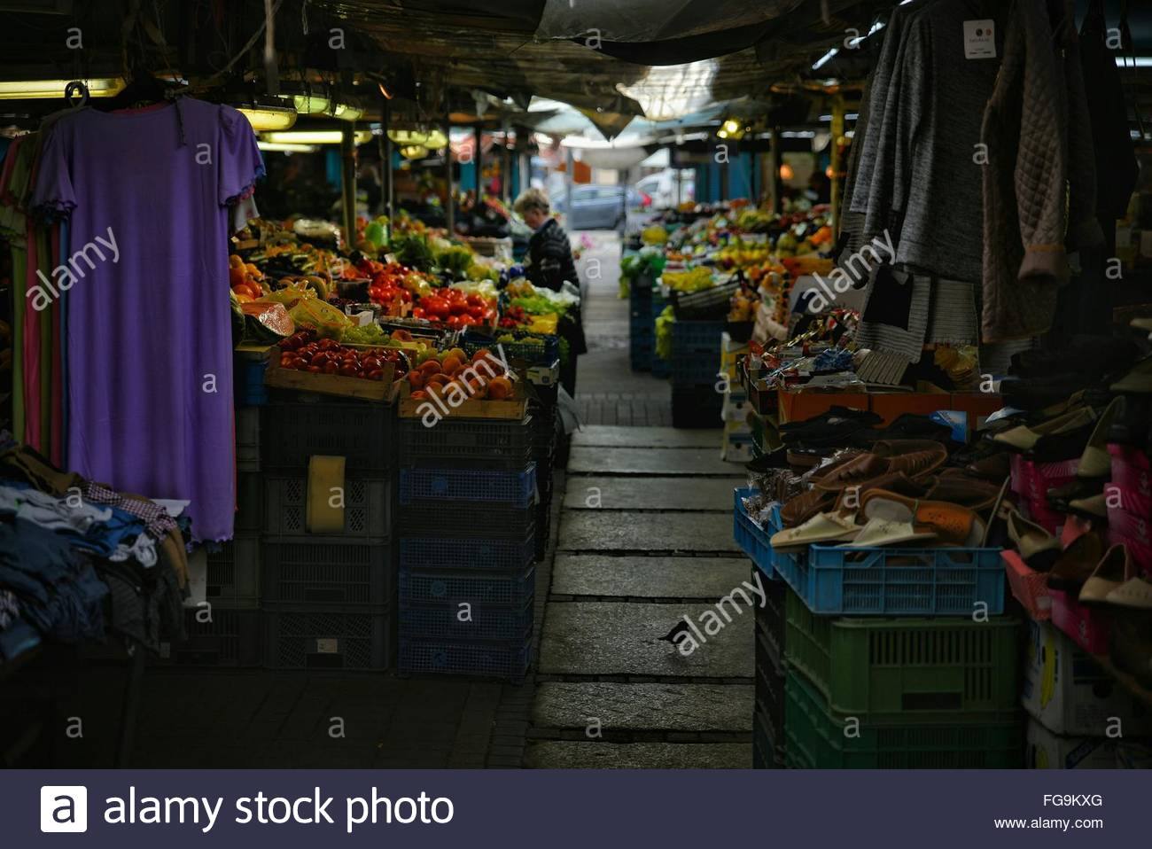 Clothes And Groceries At Market - Stock Image