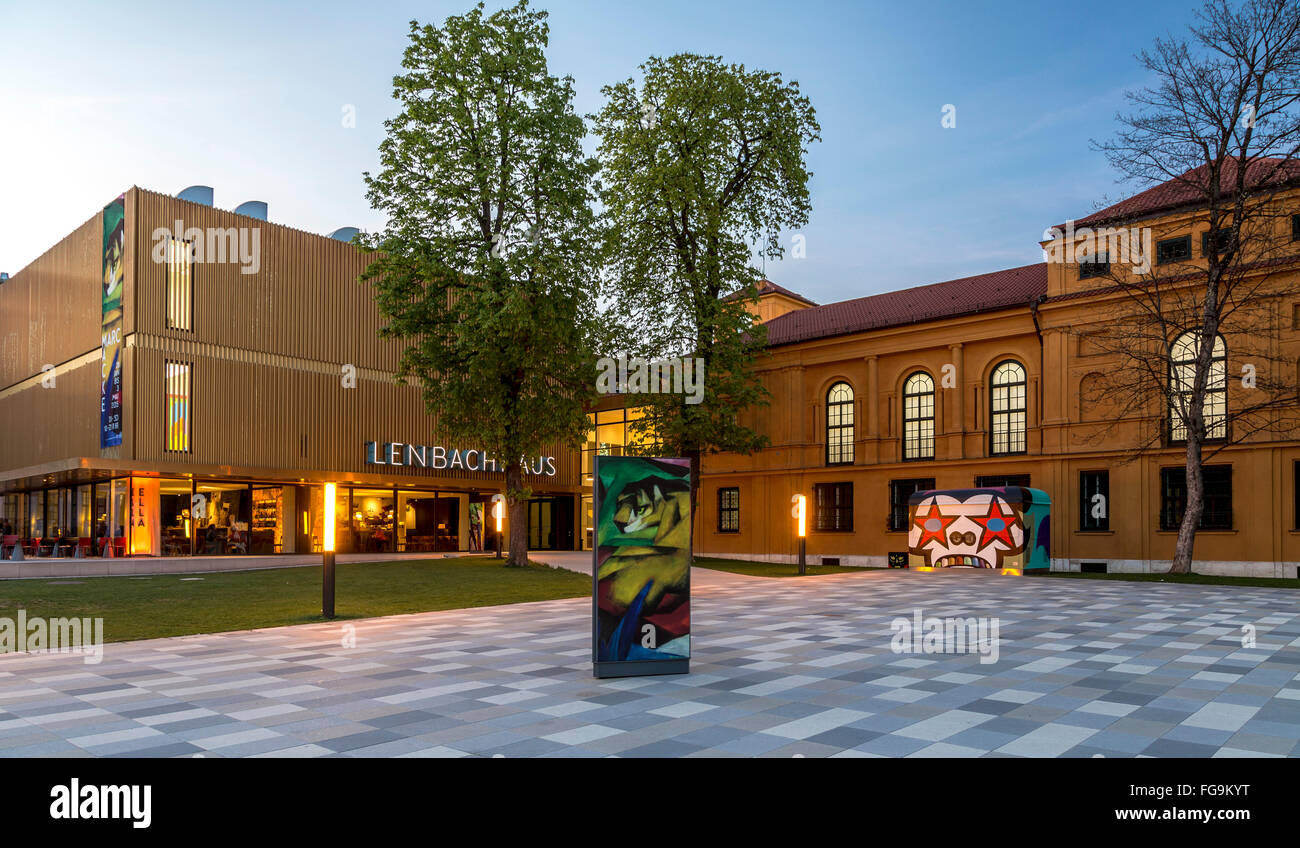 geography / travel, Germany, Bavaria, Munich, Lenbachhaus, with extension, built: 2009 - 2013 by Foster+Partners, - Stock Image