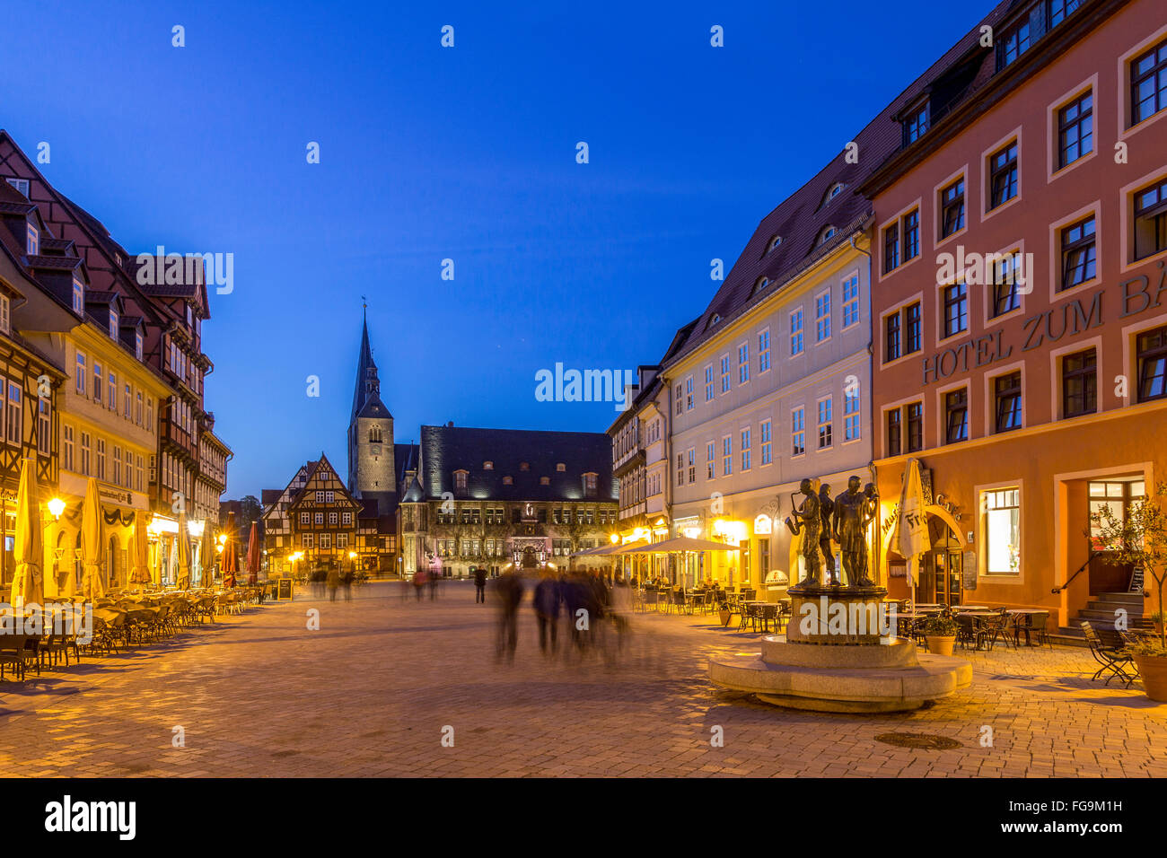 geography / travel, Saxony-Anhalt, Quedlinburg, marketplace, Additional-Rights-Clearance-Info-Not-Available - Stock Image