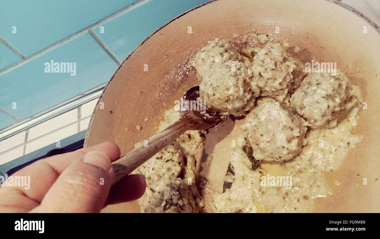 Cropped Image Of Person Having Knodel - Stock Image