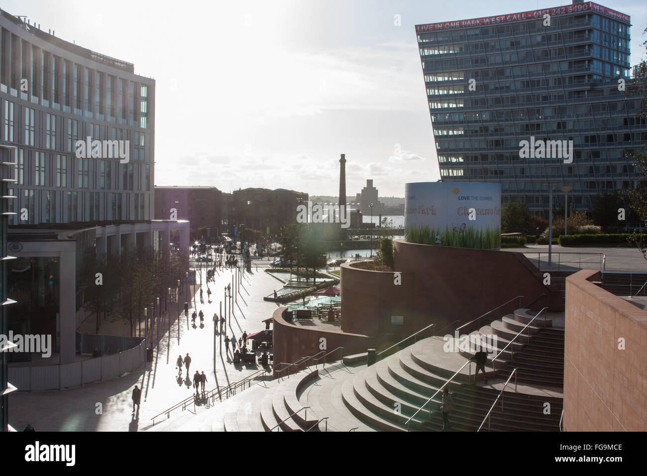 Hilton Hotel on left at Liverpool One Shopping Mall,Centre,Center,England - Stock Image