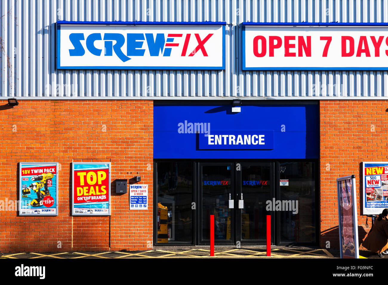 Screwfix screw fix tools  trade tool accessories and hardware products industrial estate Louth Lincolnshire UK England - Stock Image