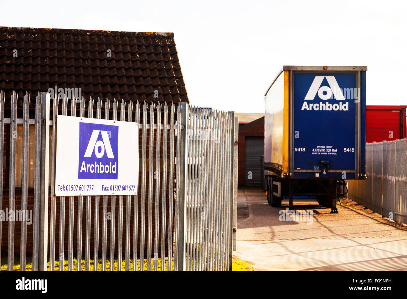 Archbold Logistics national distribution and warehousing service transport industrial estate Louth Lincolnshire - Stock Image