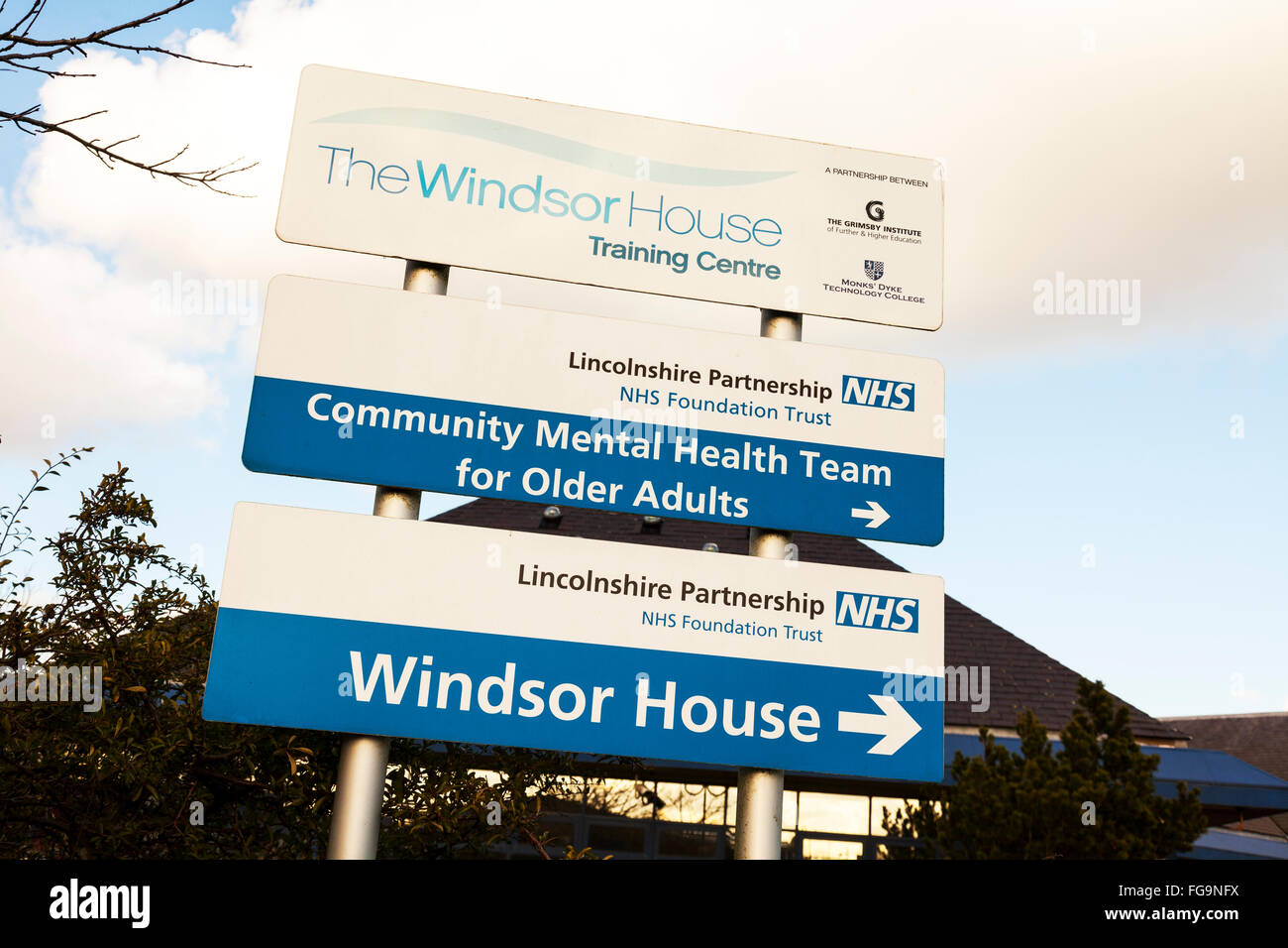 Mental Health team crisis help NHS centre center sign The Windsor House industrial estate Louth Lincolnshire UK - Stock Image