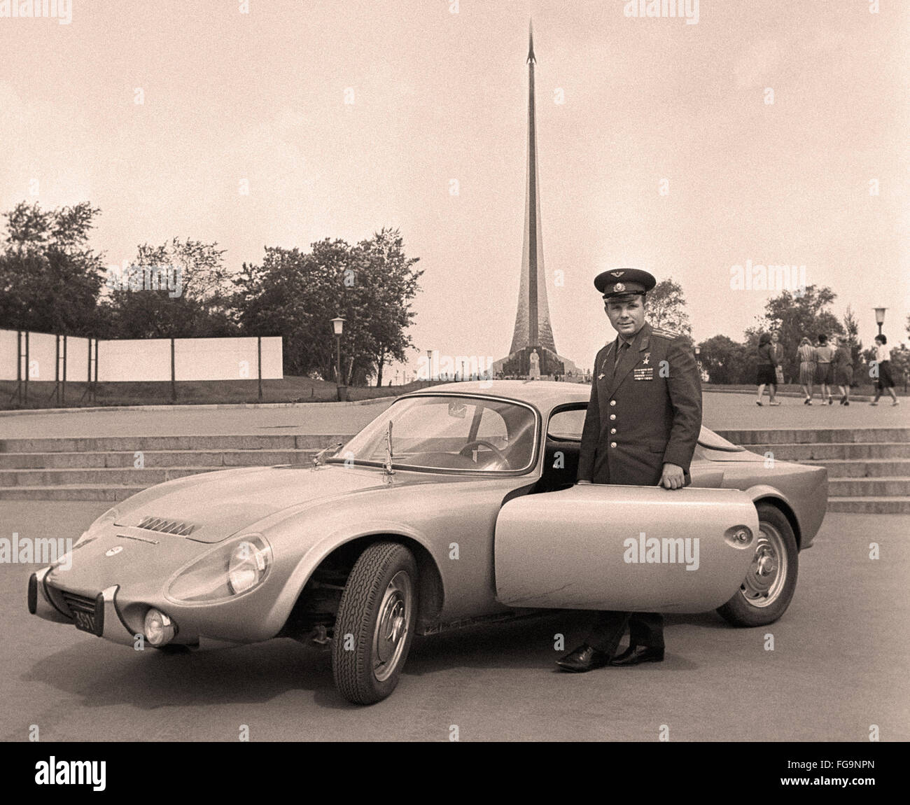 Yuri Gagarin with his Matra Bonnet jet V S coupe - ca. 1965 - Stock Image