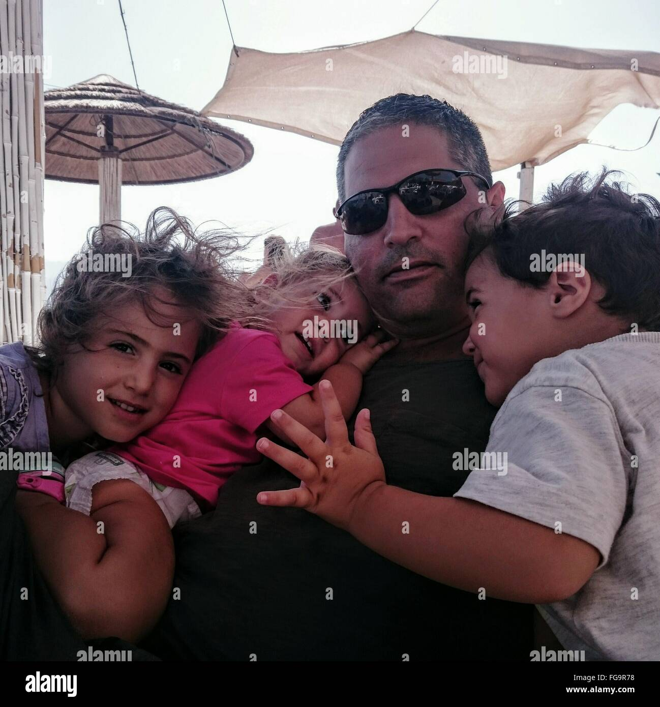 Father With Children - Stock Image