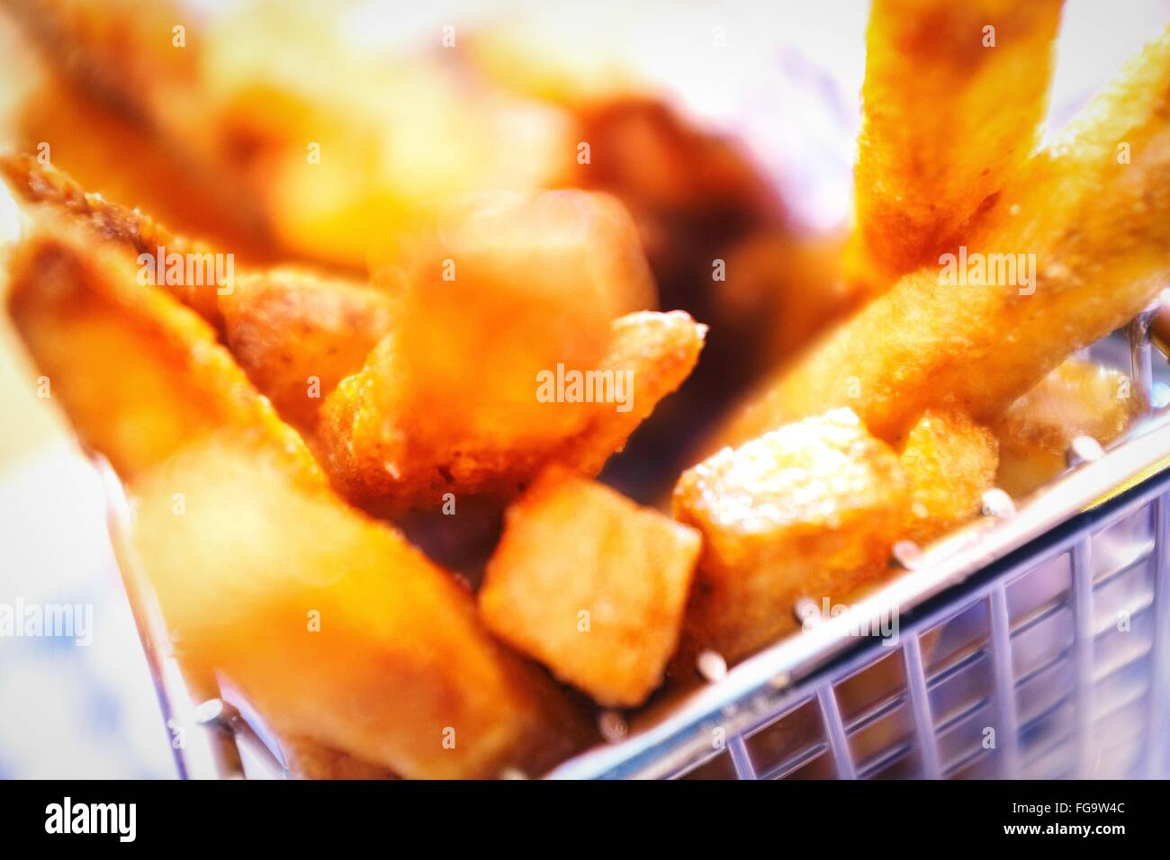 Close-Up Of French Fries In Container - Stock Image