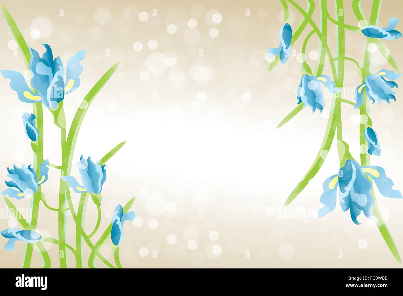 Card Template With Iris Flowers Beautiful Illustration With Place