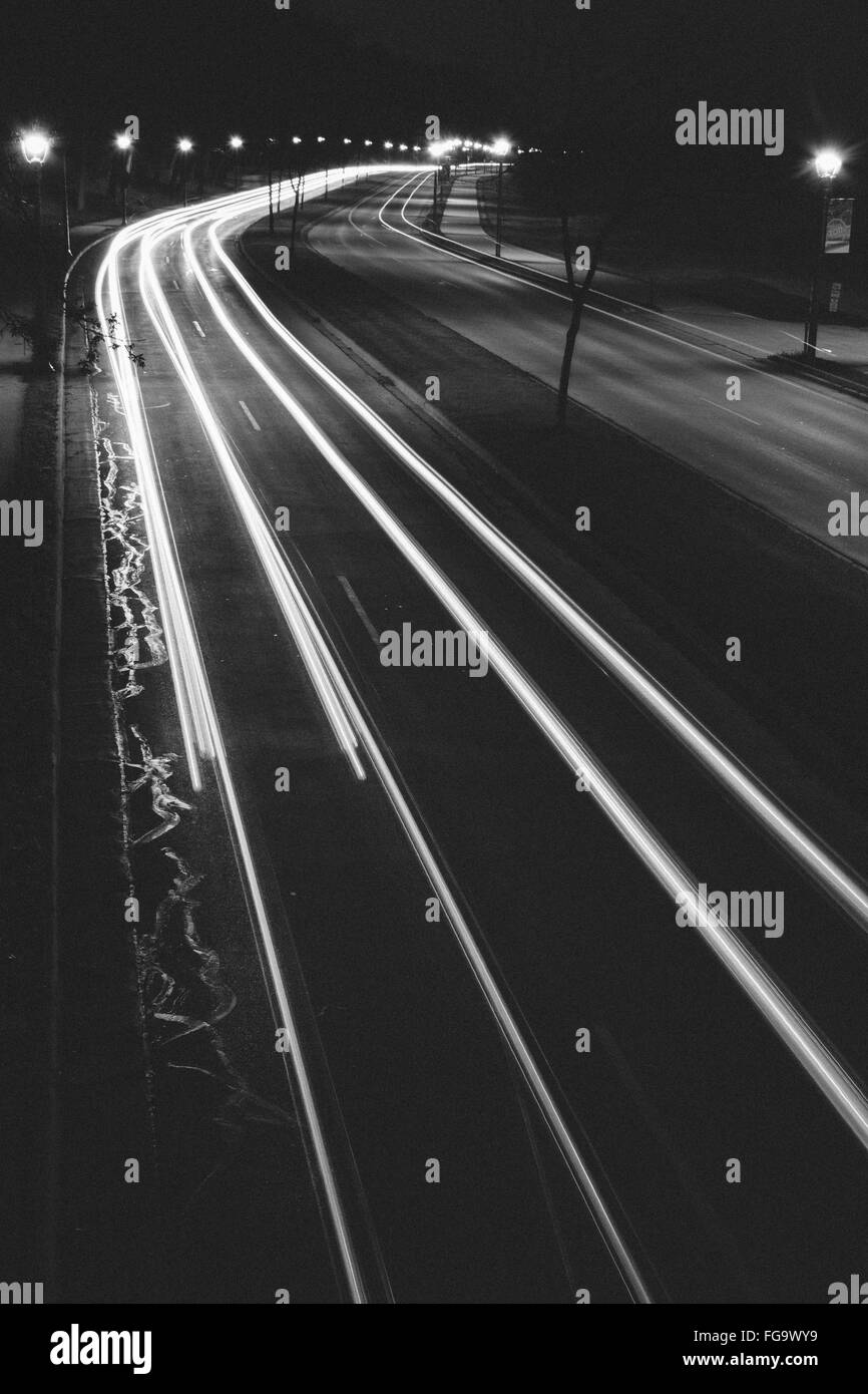High Angle View Of Light Trails On Highway At Night - Stock Image