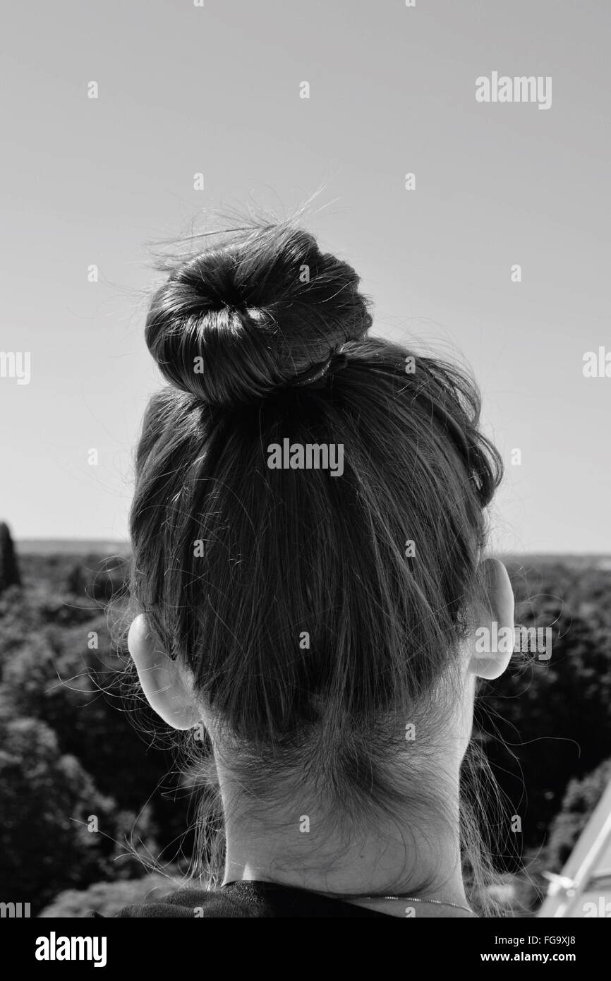 Rear View Of Woman With Hair Bun At Art Museum - Stock Image