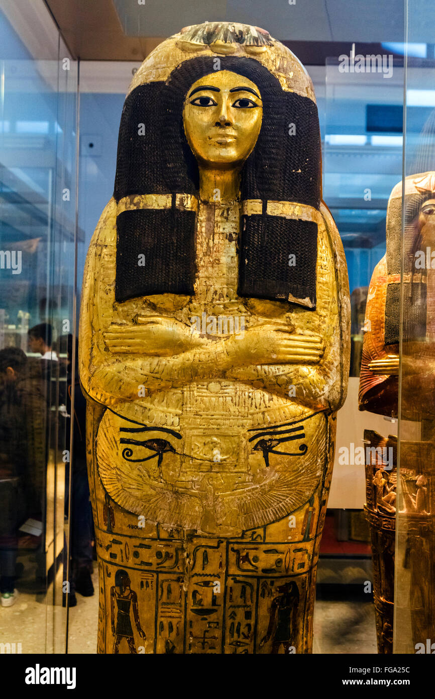 One of the gilded coffins of Henutmehyt, a Theban princess from the 19th Dynasty c.1250 BC, British Museum, London, - Stock Image
