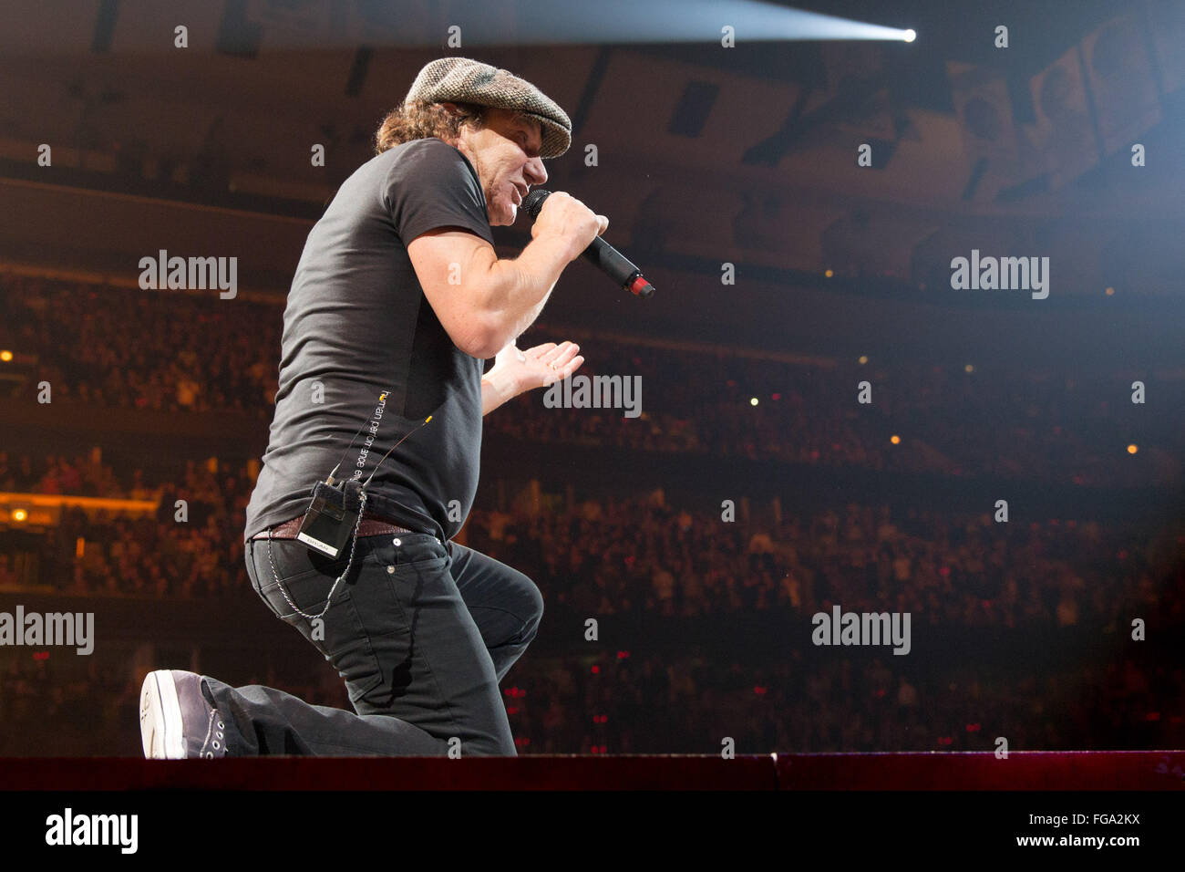 Chicago, Illinois, USA. 17th Feb, 2016. Singer BRIAN JOHNSON of AC ...