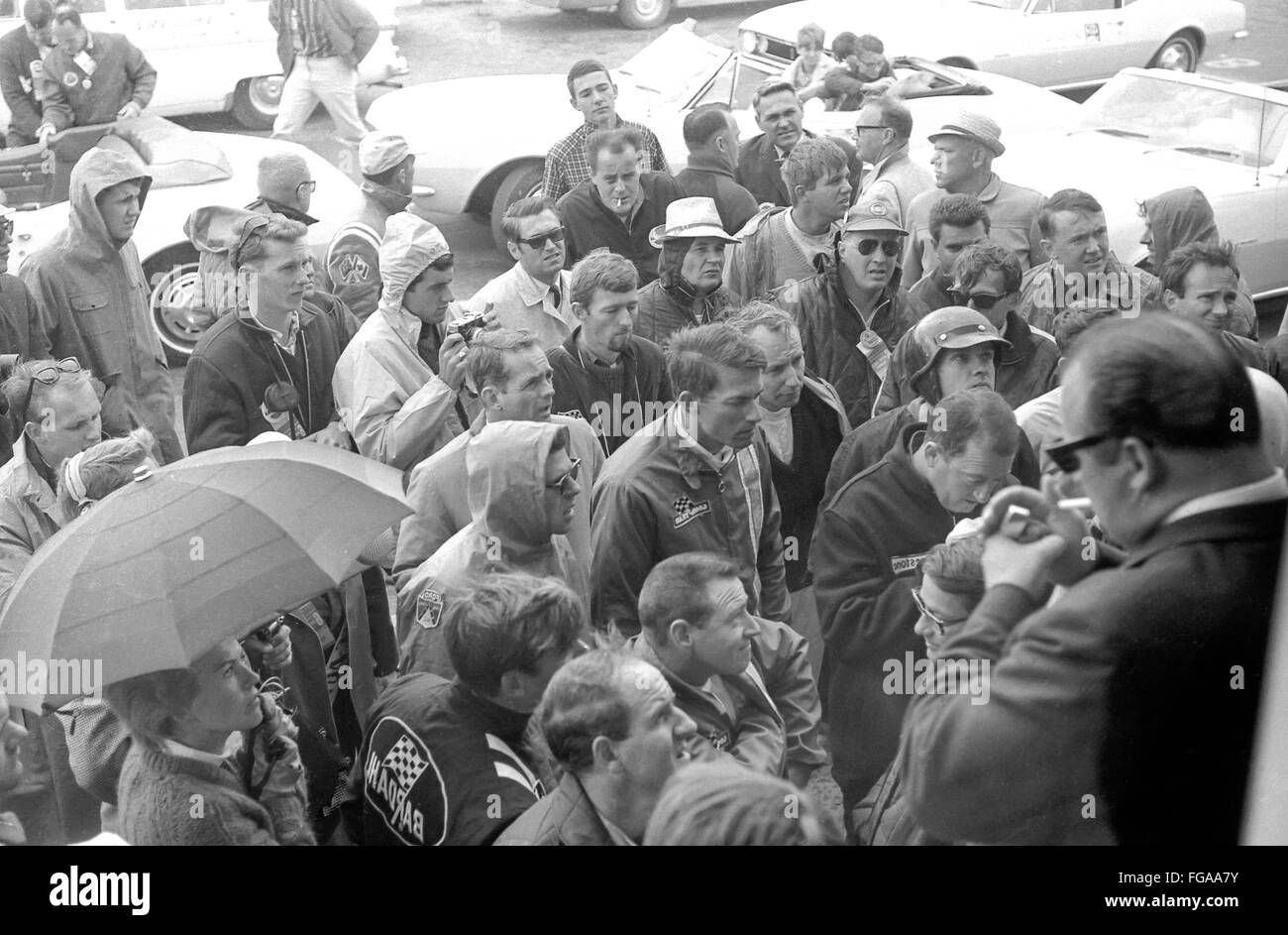 1965 Drivers Meeting at the beginning of Motorsport and formal one and Grand Prix racing in Canada at Mosport Race - Stock Image