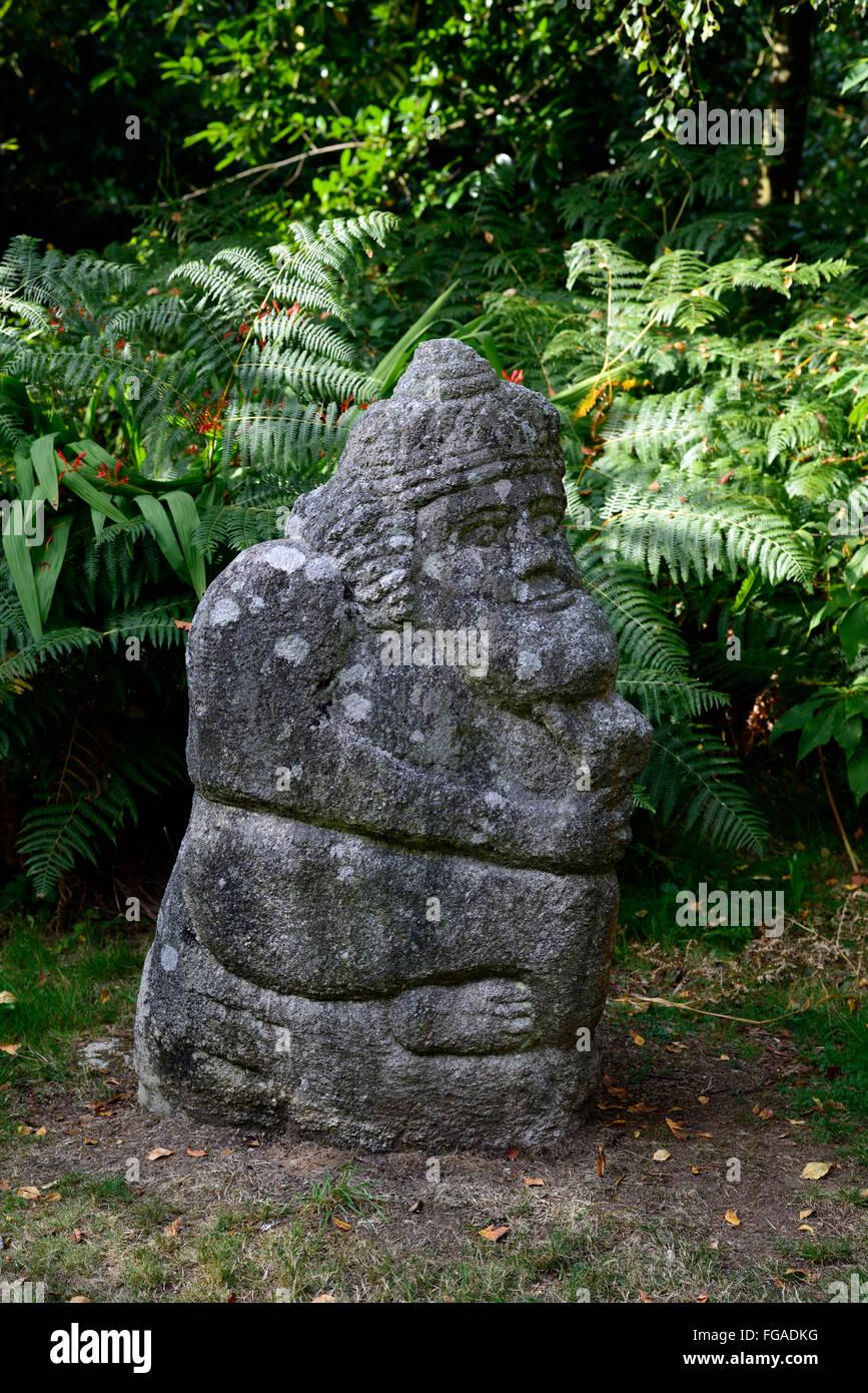 stone sculpture mayan imagery altamont gardens carlow garden art installation figure figurine RM Floral - Stock Image
