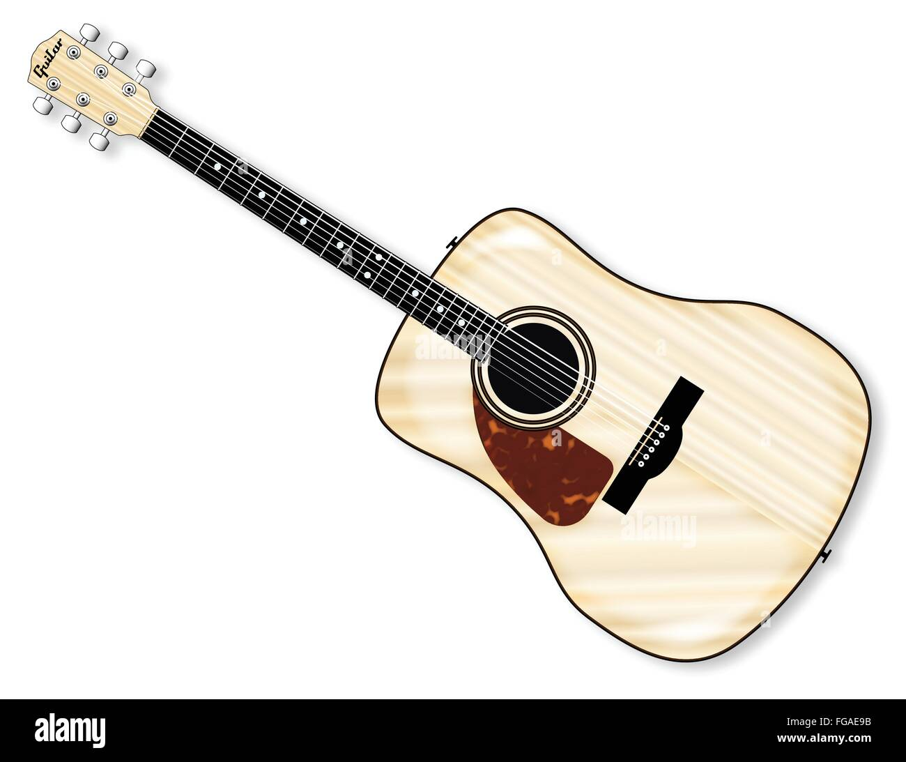 A typical left handed acoustic guitar isolated over a white background. - Stock Image
