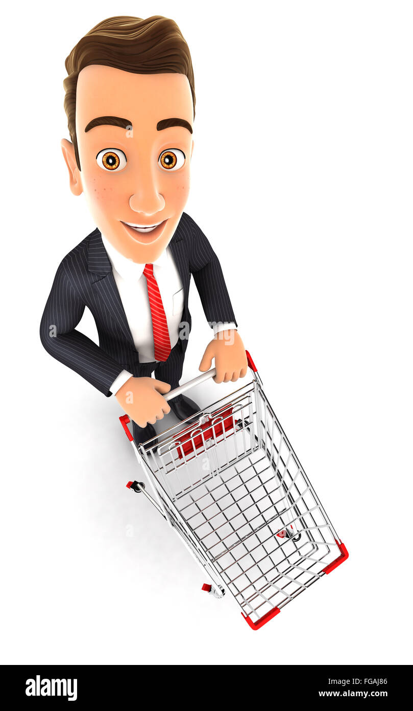 3d businessman empty supermarket trolley, isolated white background Stock Photo