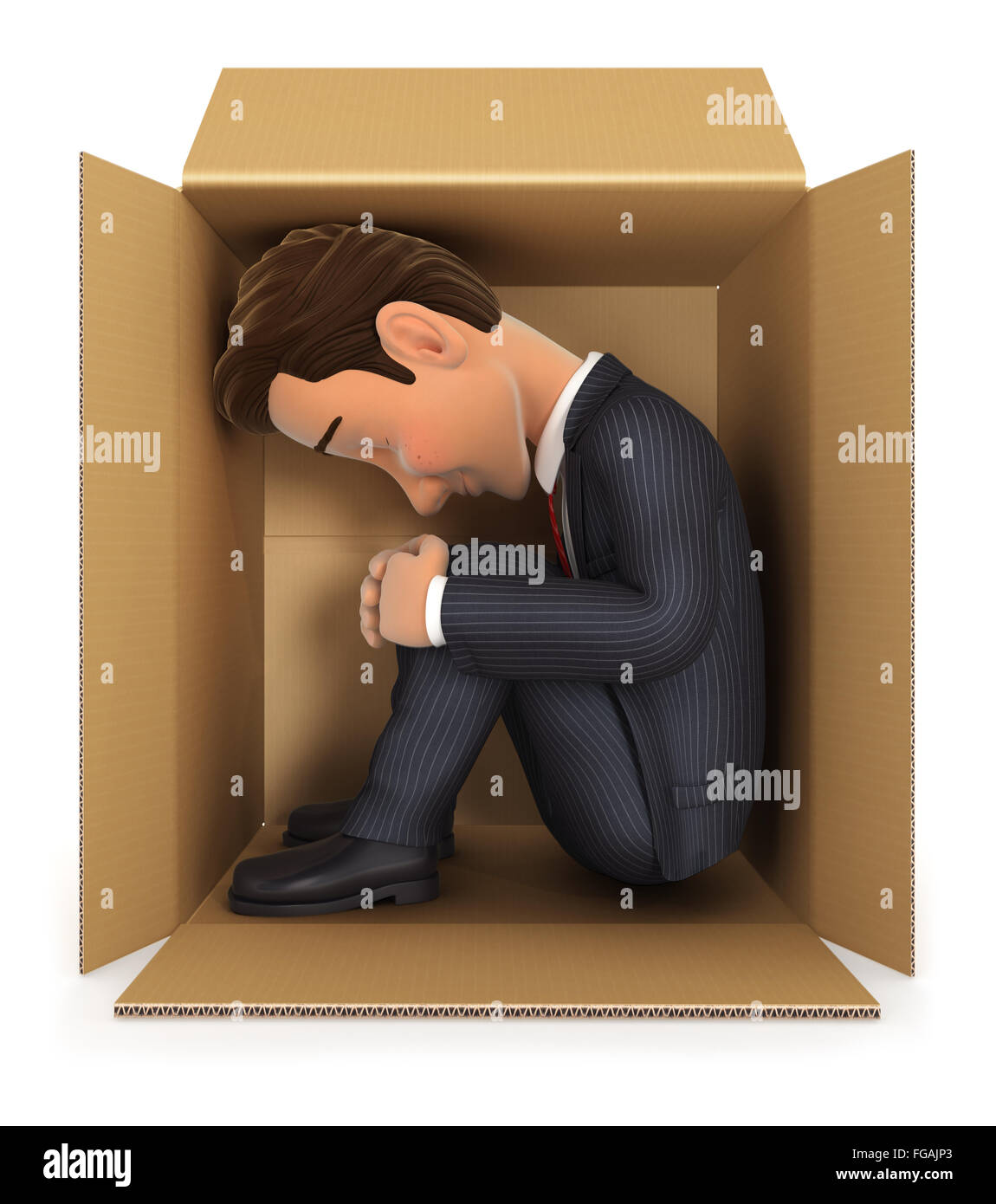 3d businessman inside cardboard box, isolated white background Stock Photo
